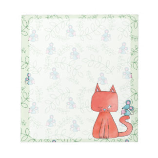 Cute Mouse Loves Kitty Cat Note Pads