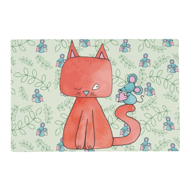 Cute Mouse Loves Kitty Cat Placemat
