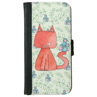 Cute Mouse Loves Kitty Cat Wallet Phone Case For iPhone 6/6s