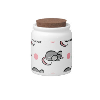 Cute Mouse, Mice, Pink and White Polka Dots Candy Jar