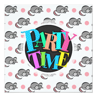 Cute Mouse, Mice, Pink and White Polka Dots Card