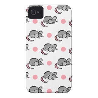 Cute Mouse Mice Pink and White Polka Dots iPhone 4 Case-Mate Cases