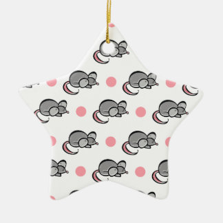 Cute Mouse, Mice, Pink and White Polka Dots Double-Sided Star Ceramic Christmas Ornament