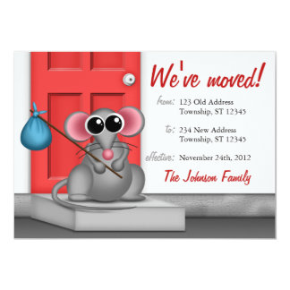 Cute Mouse on Doorstep - Moving Announcements