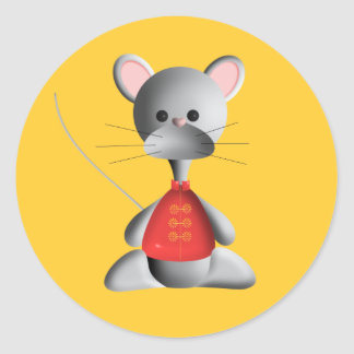 Cute mouse on gold classic round sticker