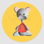 Cute mouse on gold stickers