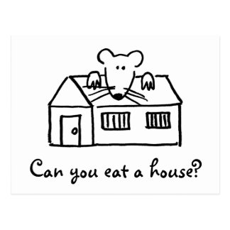 Cute Mouse On House Postcards