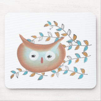 Cute Mouse Pad Owl Picture in Brown & Teal