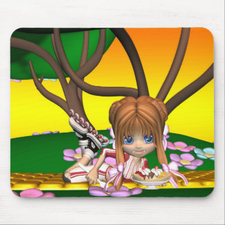 Cute mouse pad with little skater girl