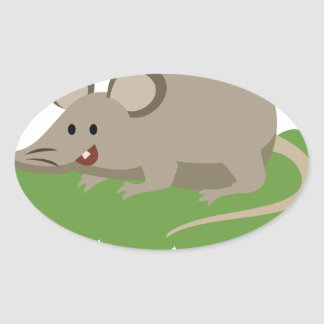 cute mouse rat oval sticker