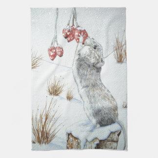 Cute mouse red berries snow scene wildlife art hand towel
