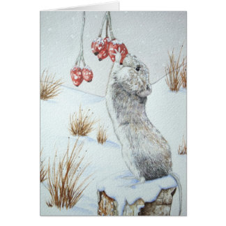 Cute mouse red berries snow scene wildlife design card