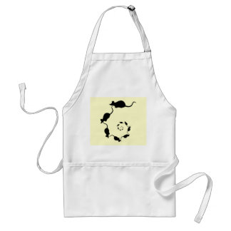 Cute Mouse Spiral. Black Mice on Cream. Adult Apron