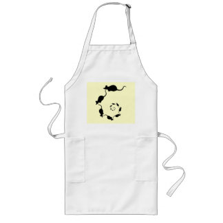 Cute Mouse Spiral. Black Mice on Cream. Long Apron