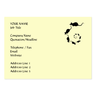 Cute Mouse Spiral. Black Mice on Cream. Large Business Cards (Pack Of 100)