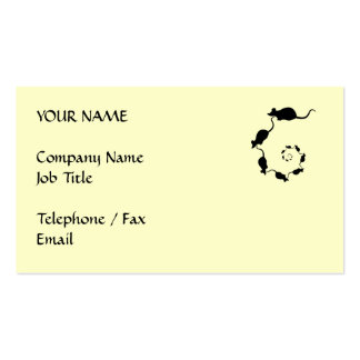 Cute Mouse Spiral. Black Mice on Cream. Business Card