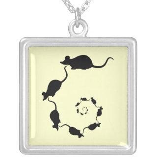 Cute Mouse Spiral. Black Mice on Cream. Square Pendant Necklace