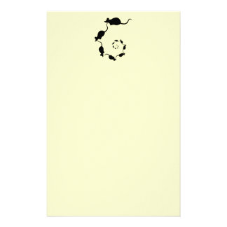 Cute Mouse Spiral. Black Mice on Cream. Stationery