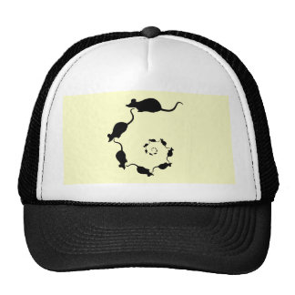 Cute Mouse Spiral. Black Mice on Cream. Trucker Hat