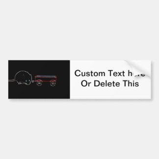 cute mouse w wagon outline animal design bumper sticker
