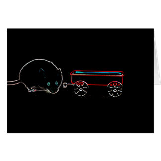 cute mouse w wagon outline animal design card