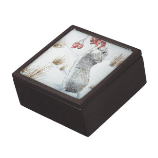 Cute mouse wildlife snow scene original art gift box