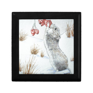 Cute mouse wildlife snow scene original art keepsake box