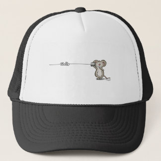 Cute Mouse with a can phone by Send2Smiles Trucker Hat
