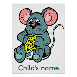 Cute mouse with cheese Custom name Cartoon Poster