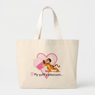 Cute Mouse With Cupcake Large Tote Bag