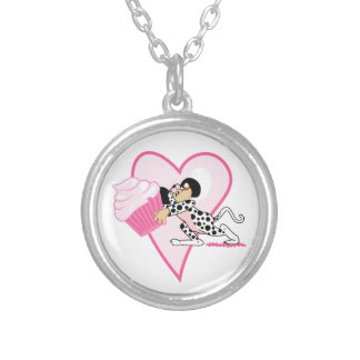 Cute Mouse With Cupcake Silver Plated Necklace