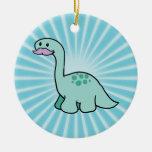 Cute Moustache Dinosaur Christmas Ornament
