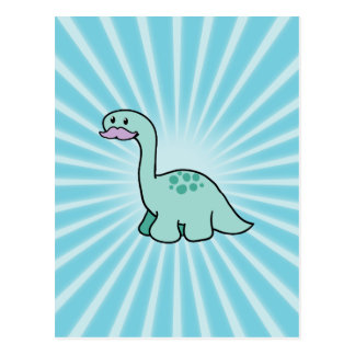 Cute Moustache Dinosaur Postcard