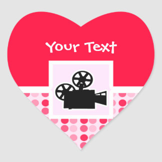 Cute Movie Camera Heart Sticker