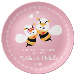 Cute Mr And Mrs Honey Bee First Christmas Together Porcelain Plate