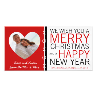 Cute Mr and Mrs Hugs and Kisses Photo Christmas Photo Card