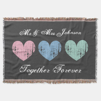 Cute Mr and Mrs throw blanket for newlyweds couple