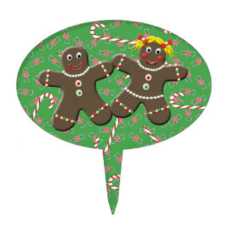 Cute Mr & Mrs Gingerbread Holiday Cake Topper