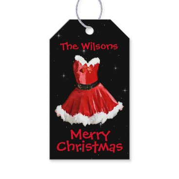 Professional Business Cute Mrs Santa Dress Christmas Gift Tags