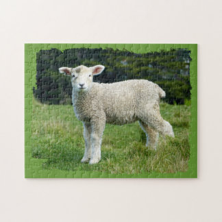 Cute Muddy Lamb in Meadow Ragged Edge Design Jigsaw Puzzle