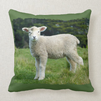 Cute Muddy Lamb in Meadow Ragged Edge Design Throw Pillow