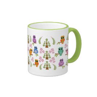 Cute mug with Owls, trees, flowers & leaves
