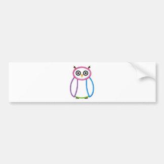 Cute Multi colored Owl Bumper Sticker