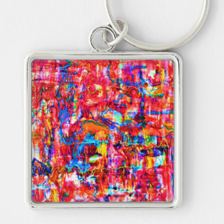 Cute multi colors abstract waves painting keychain