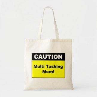 Cute Multi Tasking Mom Caution Budget Tote Bag