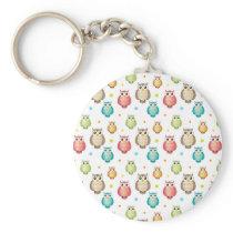 Cute Multicolor Owls Pattern Keychain