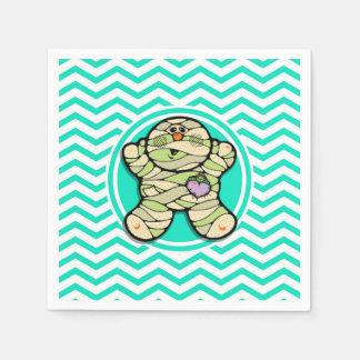 Cute Mummy; Aqua Green Chevron Paper Napkins