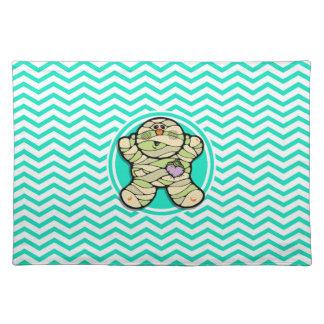 Cute Mummy Aqua Green Chevron Placemats
