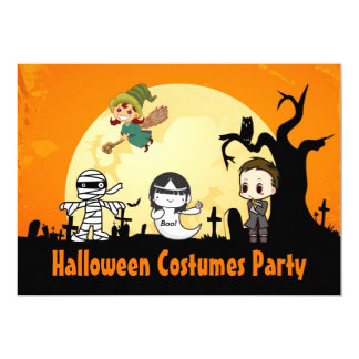 Cute Mummy Ghost Witch - Costume Halloween Party 5x7 Paper Invitation Card