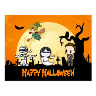 Cute Mummy Ghost Witch Priest - Happy Halloween Postcard